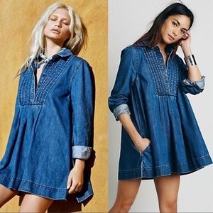 Free People Tops - Free People Denim Babydoll Tunic